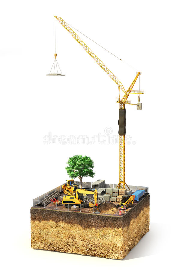 Construction concept. Construction site with construction machinery, materials and tower crane on the piece of ground. 3d illustration royalty free illustration