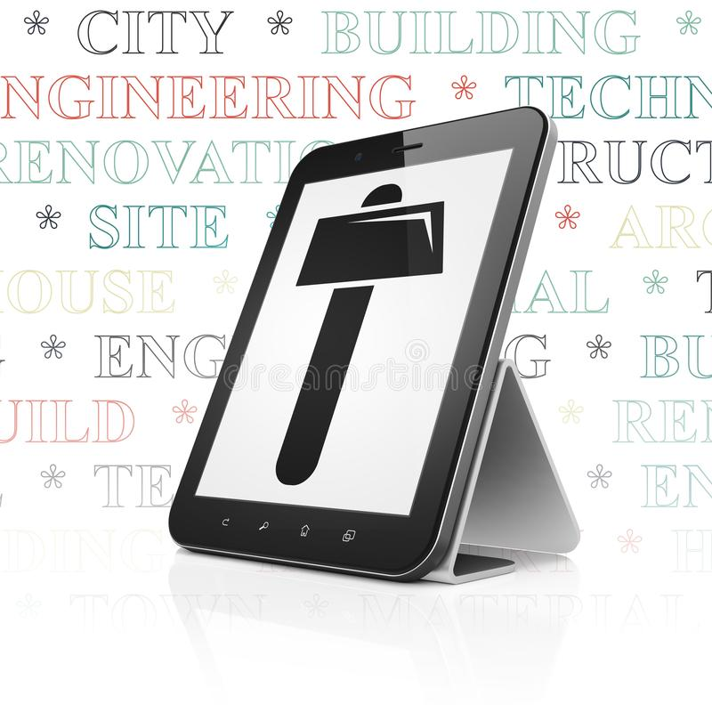 Construction concept: Tablet Computer with Hammer on display. Construction concept: Tablet Computer with black Hammer icon on display, Tag Cloud background, 3D vector illustration