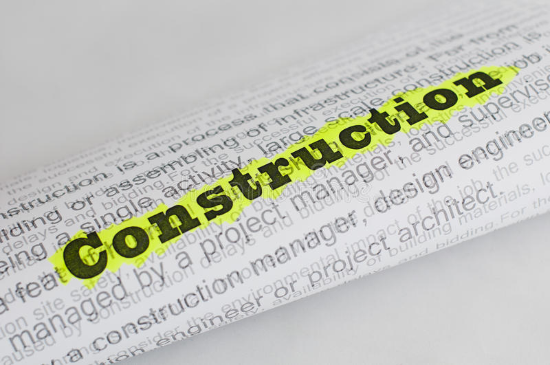 Construction conception text stock photography