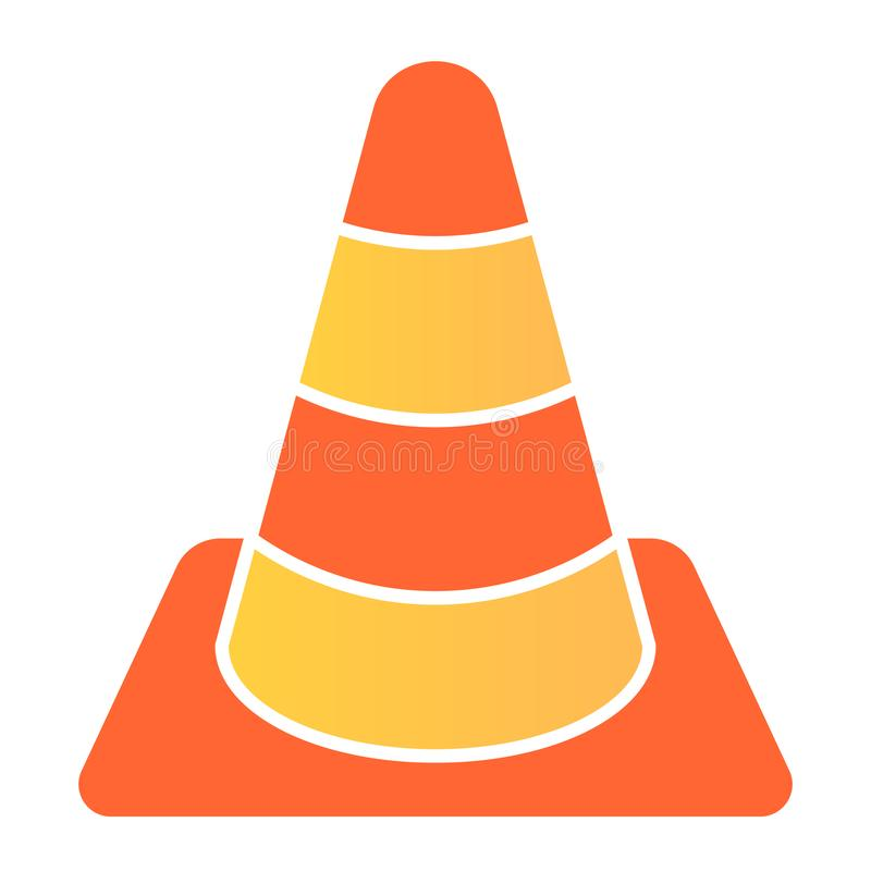 Construction cone flat icon. Road cone color icons in trendy flat style. Barrier gradient style design, designed for web. And app. Eps 10 vector illustration