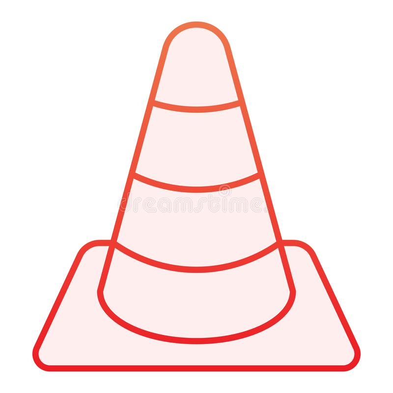 Construction cone flat icon. Road cone red icons in trendy flat style. Barrier gradient style design, designed for web. And app. Eps 10 stock illustration