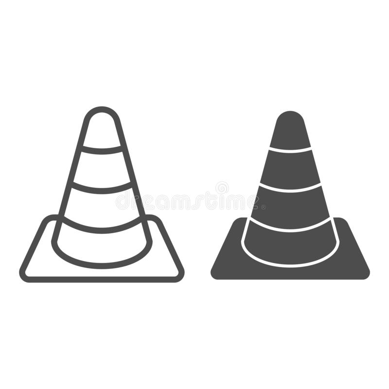 Construction cone line and glyph icon. Road cone vector illustration isolated on white. Barrier outline style design. Designed for web and app. Eps 10 vector illustration