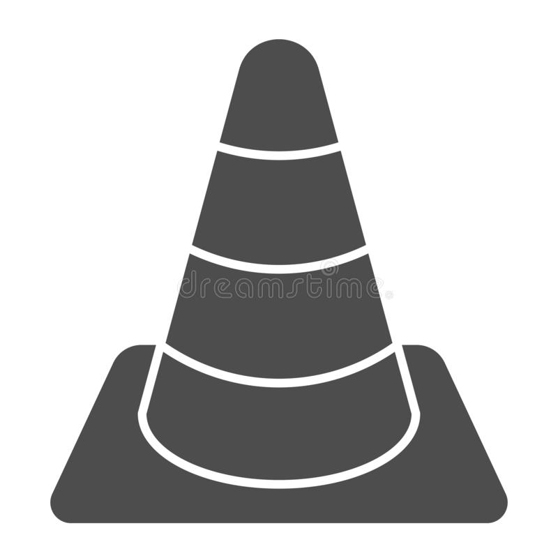 Construction cone solid icon. Road cone vector illustration isolated on white. Barrier glyph style design, designed for. Web and app. Eps 10 stock illustration