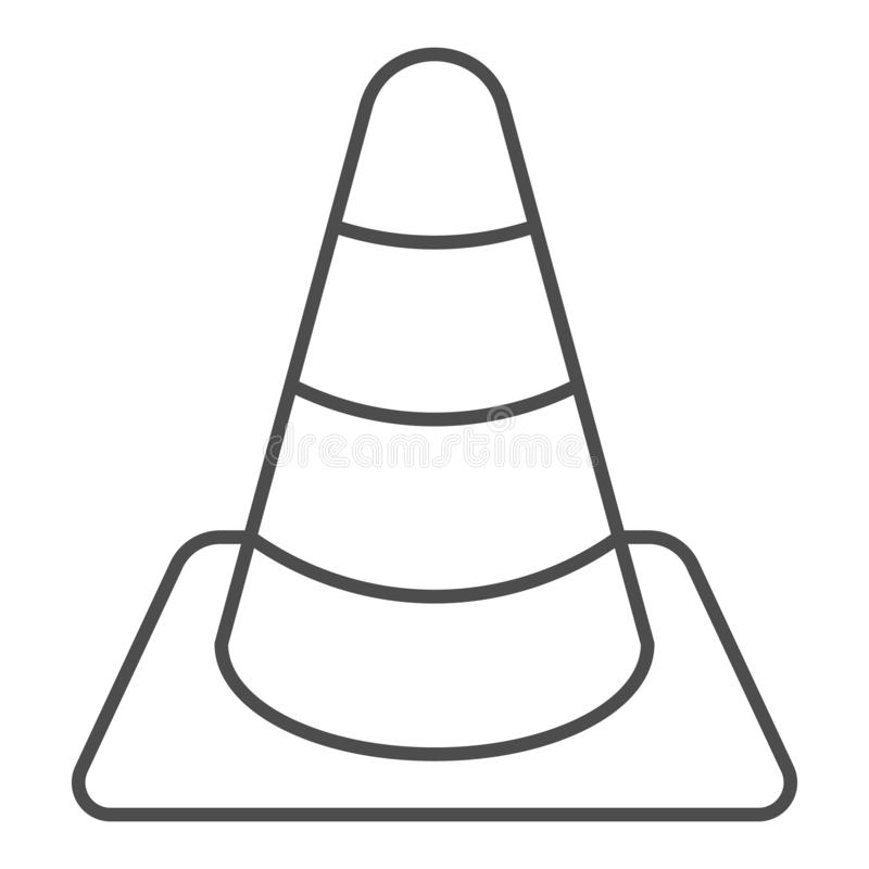 Construction cone thin line icon. Road cone vector illustration isolated on white. Barrier outline style design. Designed for web and app. Eps 10 royalty free illustration