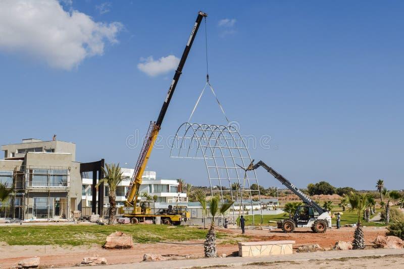 Construction, Construction Equipment, Crane, Residential Area stock image
