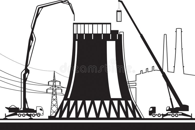 Construction of cooling tower in power plant vector illustration