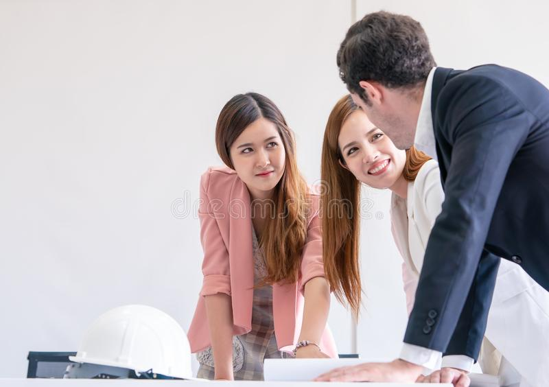 Corporate is brainstorming in meeting with paper royalty free stock photos