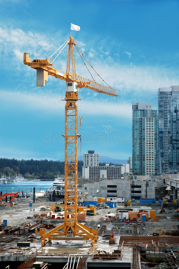 Construction Crane. Full view of a construction crane being used royalty free stock photo