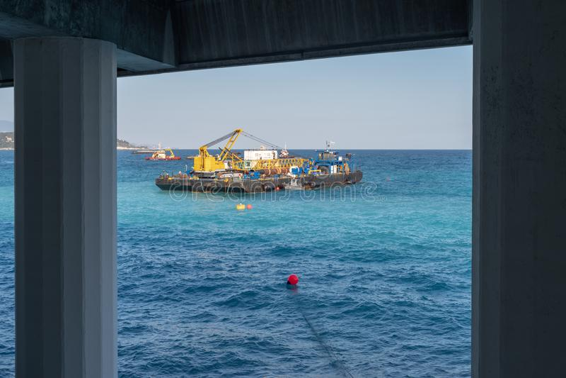 Construction crane barge stock photography