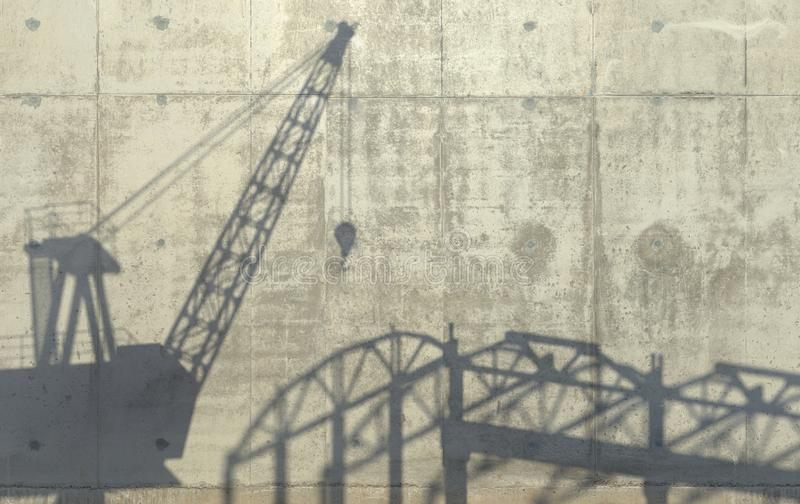 Construction crane and carcass of an unfinished building cast a shadow on the concrete wall. Conceptual creative illustration with. Copy space. 3D rendering stock illustration
