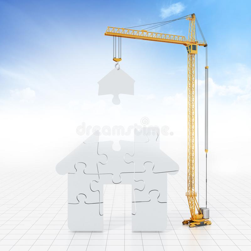 Construction crane carrying parts of jigsaw house. 3D illustration stock illustration