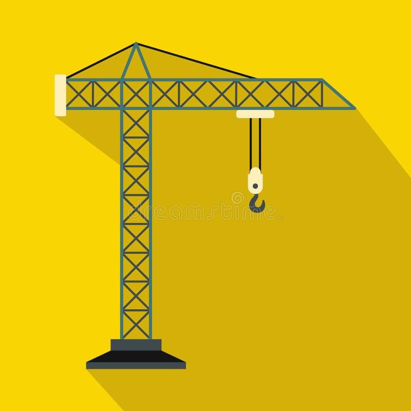 Construction crane icon, flat style. Construction crane icon in flat style on a yellow background royalty free illustration