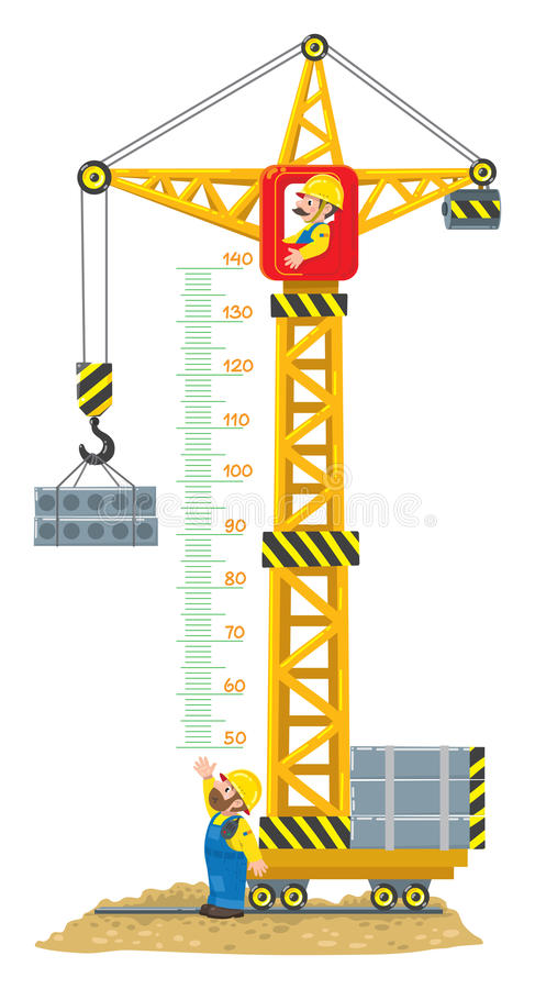 Construction crane meter wall or height chart. Meter wall or height meter of Construction crane drived by funny man worker lifts the cargo. Another worker looks vector illustration