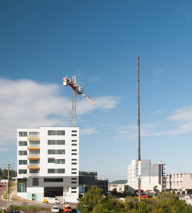 Construction crane removal. Update ed300 . Gosford. April 9, 2019 stock photos