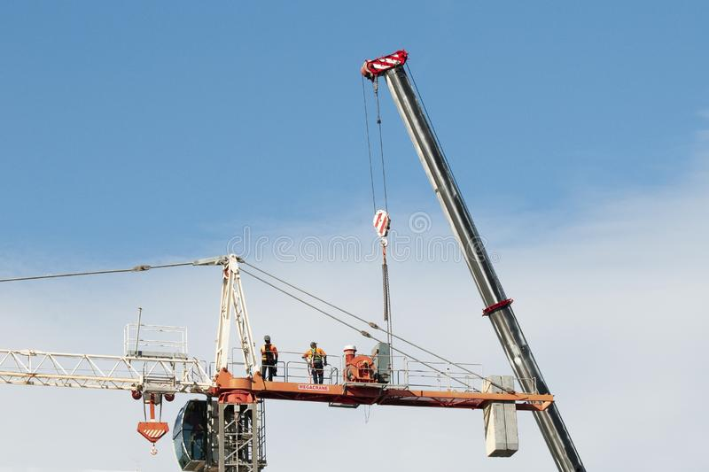 Construction crane removal. Update ed302 . Gosford. April 9, 2019 royalty free stock image