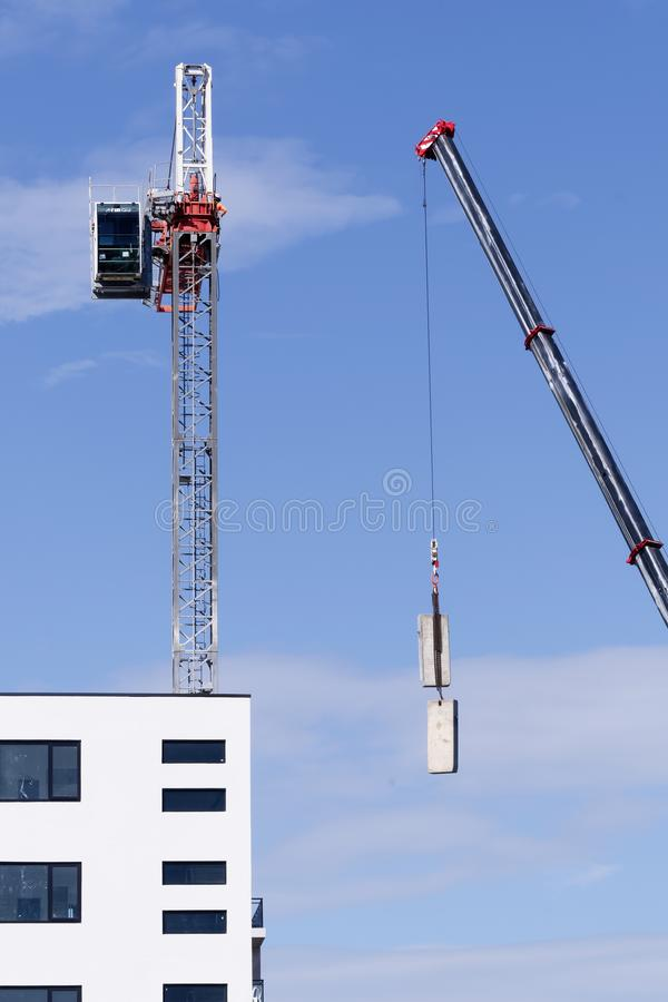Construction crane removal. Update ed311. Gosford. April 9, 2019 stock image