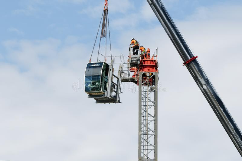 Construction crane removal. Update ed316. Gosford. April 9, 2019 stock images