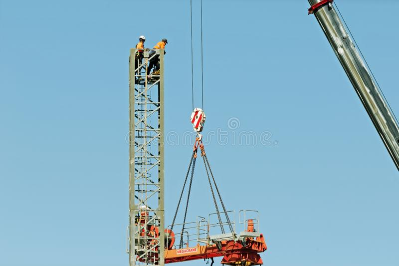 Construction crane removal. Update ed319. Gosford. April 9, 2019 royalty free stock images