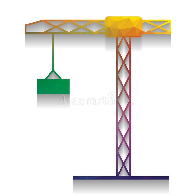 Construction crane sign. Vector. Colorful icon with bright texture of mosaic with soft shadow on white background. Isolated.. Ill royalty free illustration