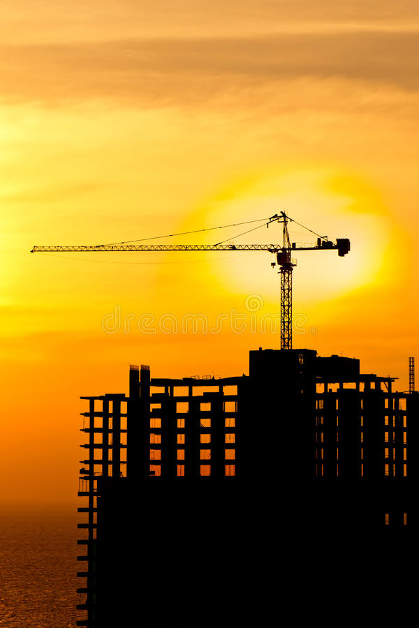 Free Construction Cranes And Building Silhou Stock Photo - 22581090