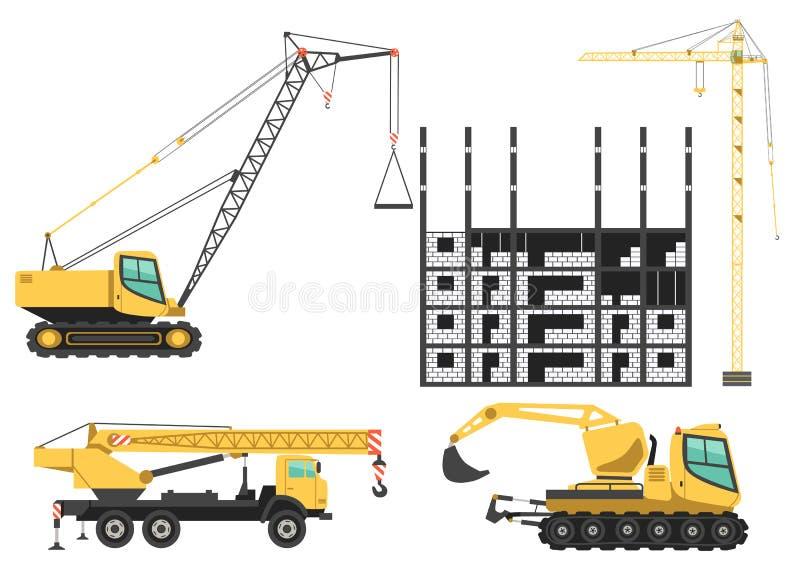 Construction cranes and trucks vector icons vector illustration