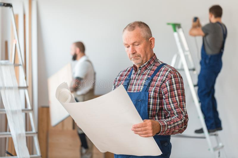 Construction crew leader stock images