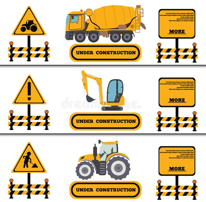 Construction Crew Vehicles machinery building truck industry equipment vector illustration. Build tractor architecture digger royalty free illustration