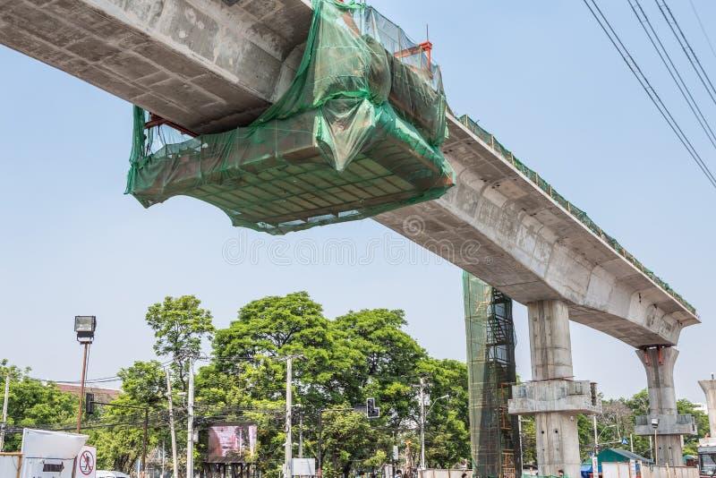 Construction of crossing road bridge in Bangkok Thailand stock images