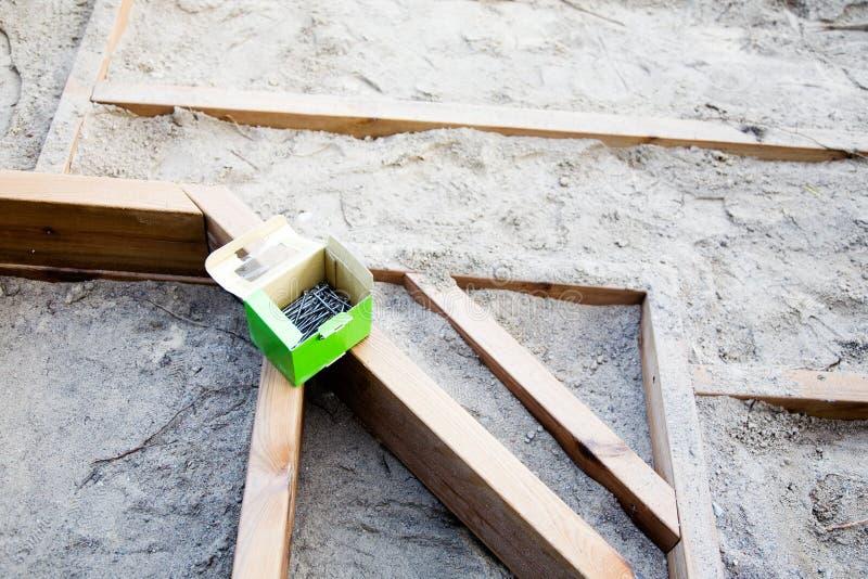 Construction d'un patio image stock