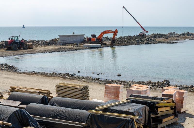 Construction d'un quai photographie stock