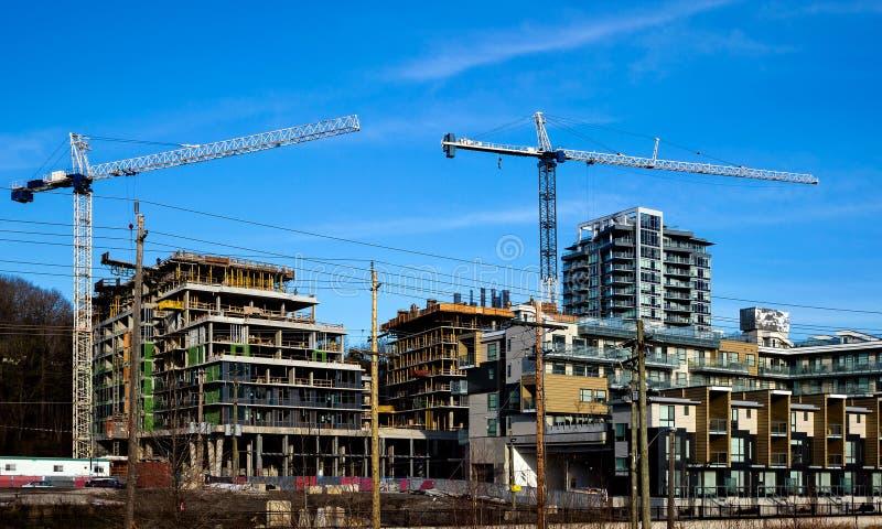 Construction d'une nouvelle zone résidentielle dans la ville de Burnaby photographie stock