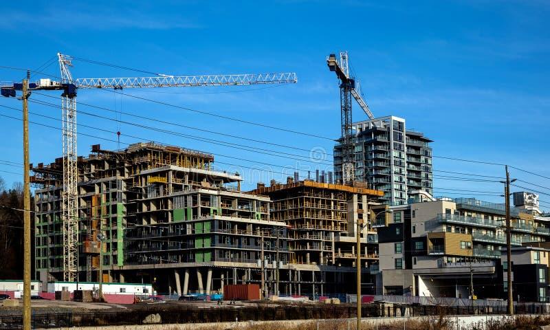 Construction d'une nouvelle zone résidentielle dans la ville de Burnaby image libre de droits