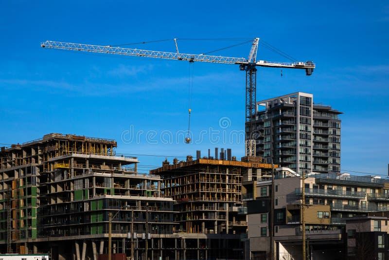 Construction d'une nouvelle zone résidentielle dans la ville de Burnaby images stock
