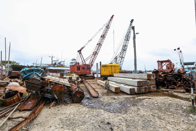 Construction dans le port de Galle, Sri Lanka photo stock