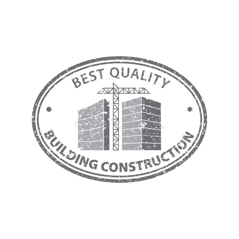 Construction de bâtiments de timbre dans le gris Concept fonctionnant d'industrie de construction Vecteur courant illustration libre de droits