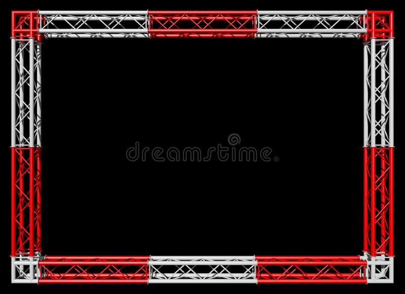 Construction de bottes rouge et frontière décorative blanche d'isolement sur le noir photographie stock