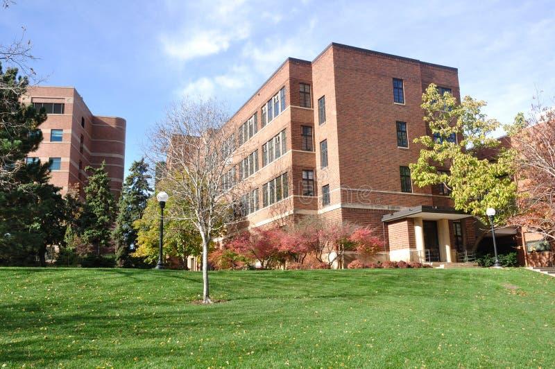 Construction de brique sur le campus universitaire images libres de droits