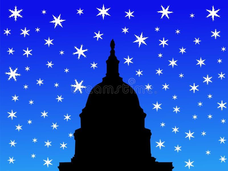 Construction de capitol des USA en hiver illustration libre de droits