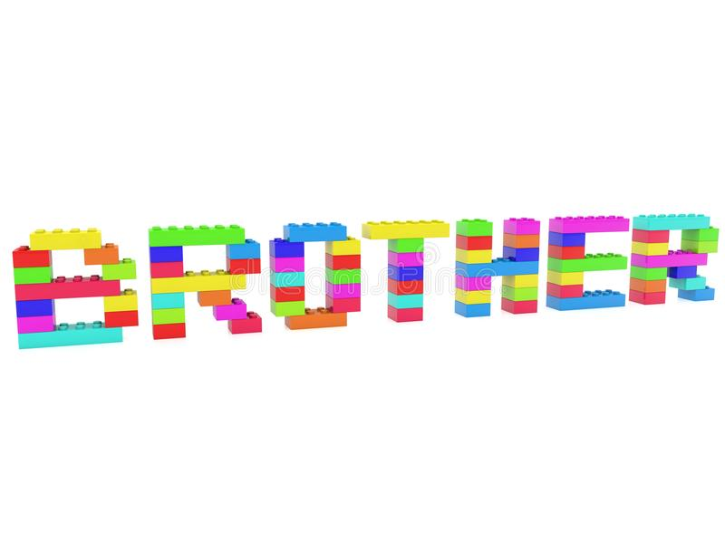 Construction de concept de frère des briques de jouet illustration libre de droits