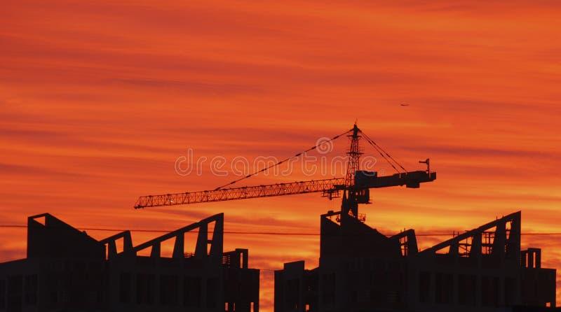 Construction de construction de grue images stock