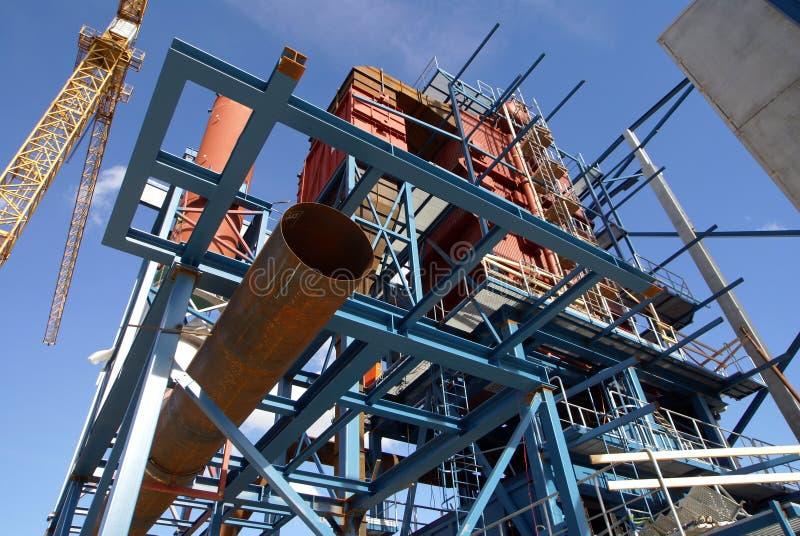 Construction de faisceaux de grues d'usine industrielle photos stock