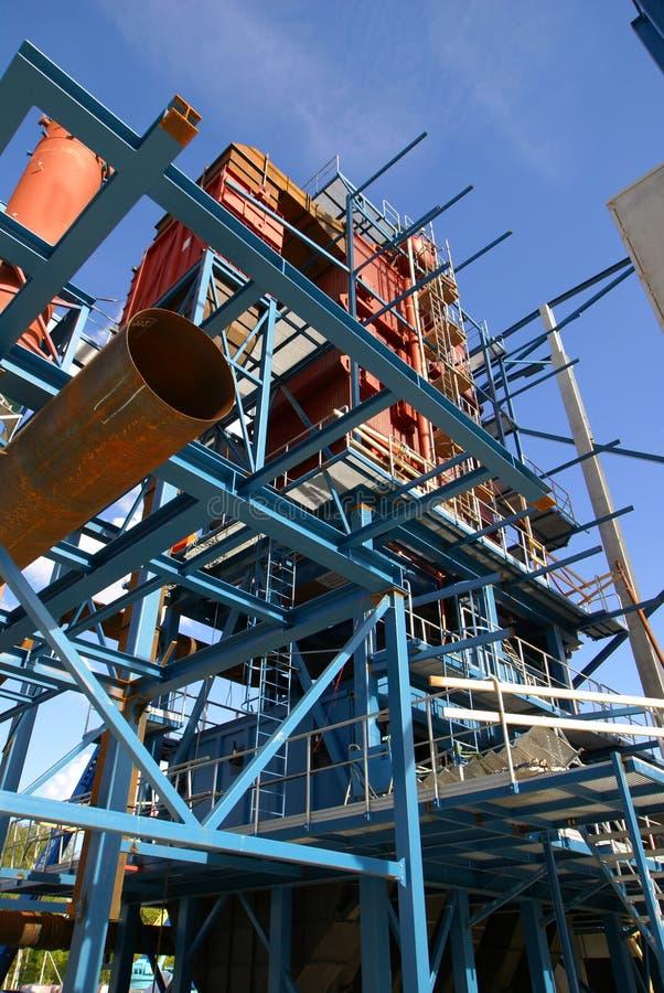 Construction de faisceaux de grues d'usine industrielle images libres de droits
