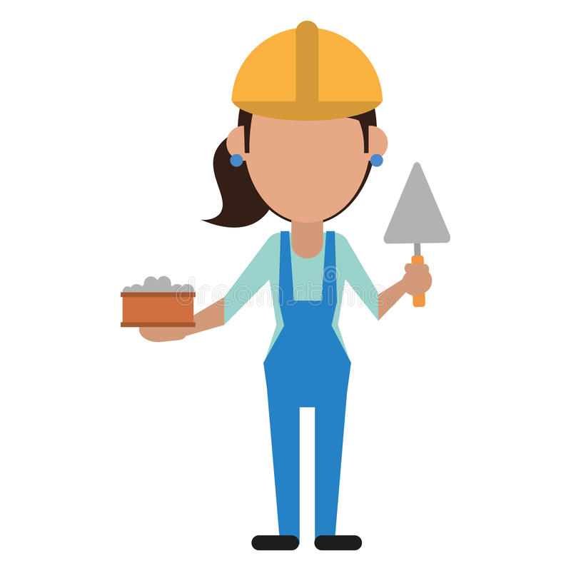 Construction de femme avec la brique et la spatule illustration de vecteur