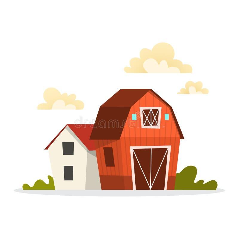 Construction de ferme Grange et maison sur la campagne illustration libre de droits