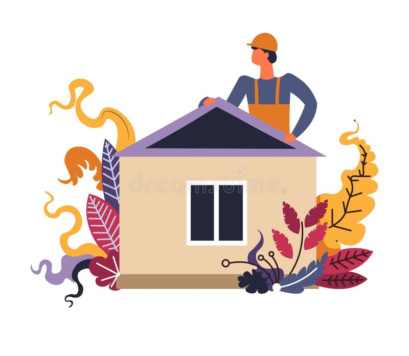Construction de finition d'homme de constructeur de maison de construction illustration libre de droits