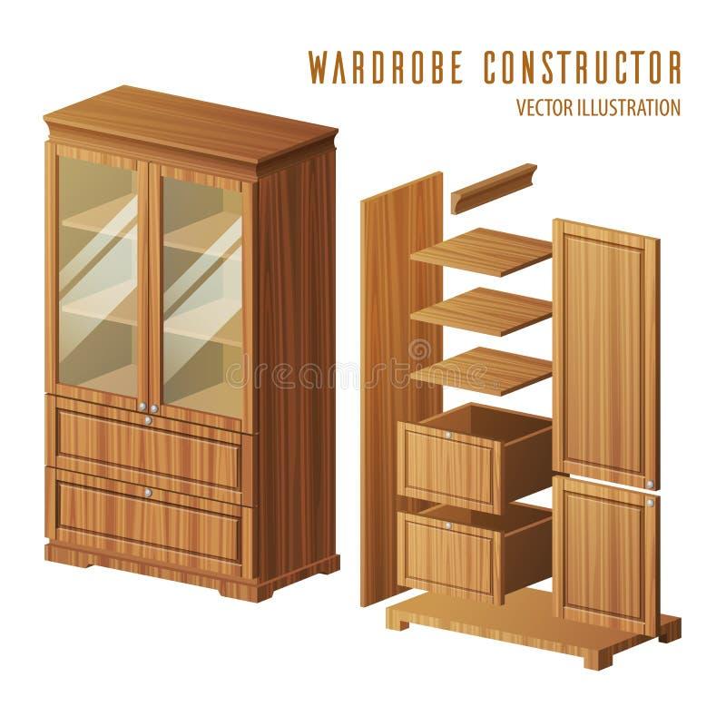 Construction de garde-robe ou conception de cabinet intégré illustration stock