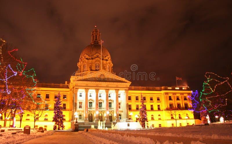 Construction de législature d'Alberta à Noël photographie stock