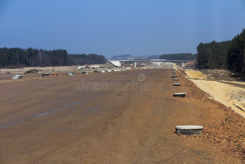 Construction de l'autoroute A1 en Pologne images stock