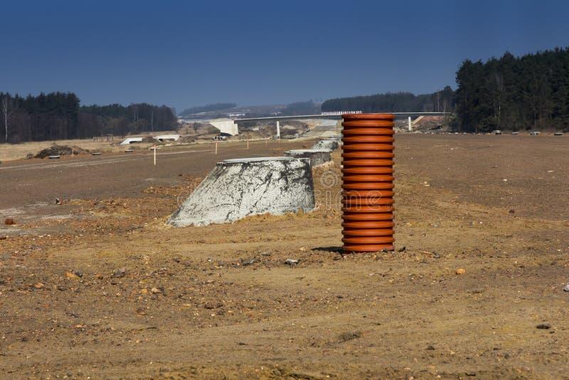 Construction de l'autoroute A1 en Pologne image stock
