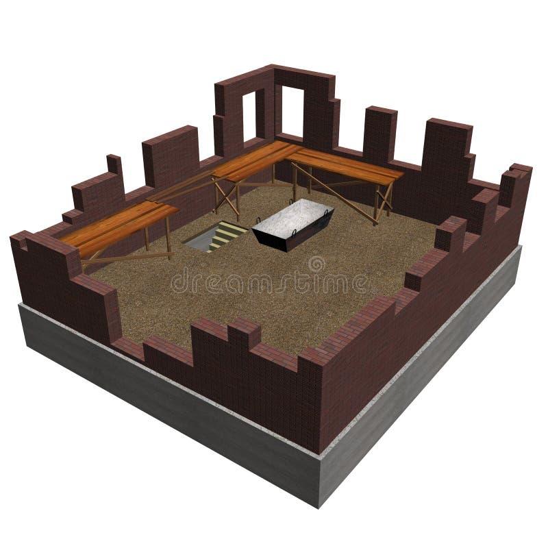 Construction de l'objet de maison sur un backgr blanc illustration stock